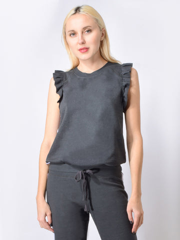 Sleeveless Ruffle Pullover in Faded Black