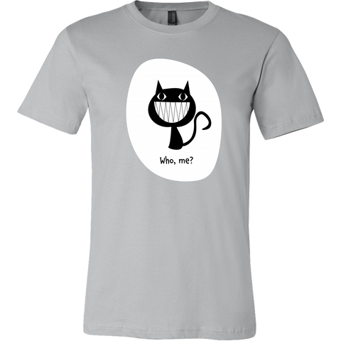 Who, Me? - Funny Cat Tee with Grinning Black Cat Illustration