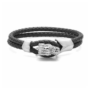SILIVER DRAGON DOUBLE ROW LEATHER BRACELET