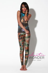 CAMOUFLAGE CLEAR FOIL DOT SPANDEX LEGGINGS