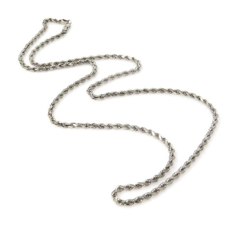 SOLID 14K WHITE GOLD 3MM ROPE CHAIN NECKLACE 6.5 GRAMS