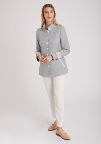 Hendre Jacket in Pale Blue Linen