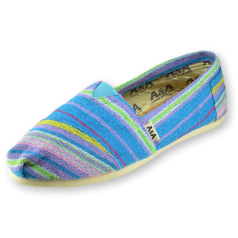 INDIE TURQUOISE CANVAS SLIP ON SHOES FOR WOMEN