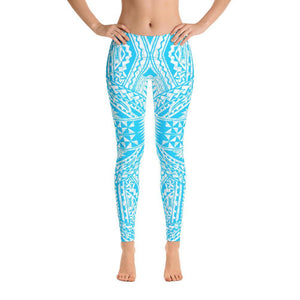 Tefiti Tribal Tattoo Legging (Ocean Blue/White)