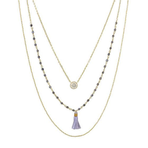 TRIPLE STRAND GOLD NECKLACE WITH TASSLE AND CZ