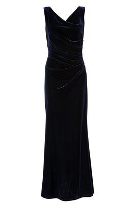 RAMONA NAVY VELVET DRESS