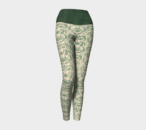Victorian Green Yoga Leggings, Brocade Leggings for your Geek Clothes & Fandom Lifestyle