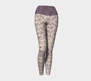 Victorian Purple Yoga Leggings, Brocade Leggings for your Geek Clothes & Fandom Lifestyle