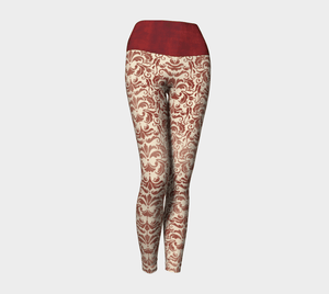 Victorian Red Yoga Leggings, Brocade Leggings for your Geek Clothes & Fandom Lifestyle