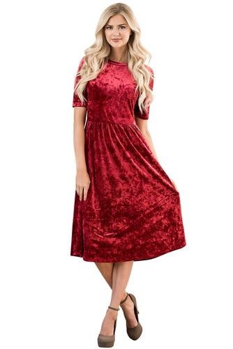 Modest Bridesmaid Dress in Red Crushed Velvet