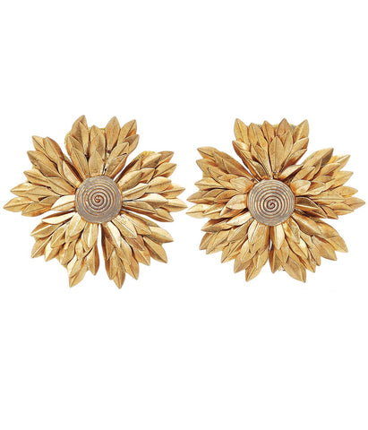REBECCA DE RAVENEL METAL PETAL FLOWER EARRINGS