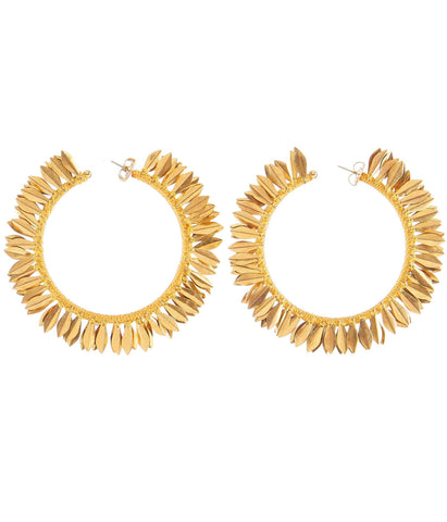 REBECCA DE RAVENEL  METAL PETAL HOOP EARRINGS