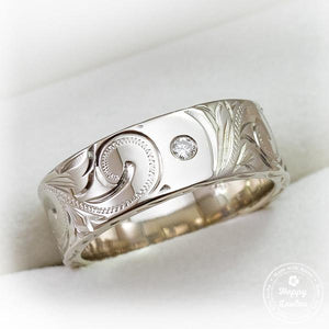White Gold Hand Engraved Hawaiian Heritage Design Ring
