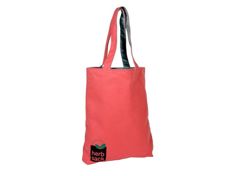 HERBSACK NANTUCKET RED COTTON CANVAS PREPPY TOTE WITH LINING