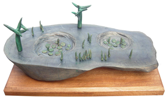 Landscape II bronze and wood sculpture