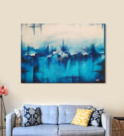 Horizons 9 Painting by Anuj Malhotra Hanging on the Wall above the Sofa