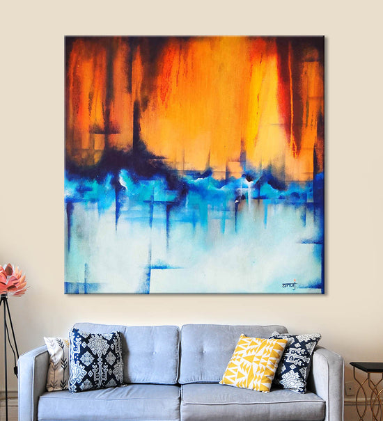 Horizons 52 Painting by Anuj Malhotra Hanging on the Wall above the Sofa