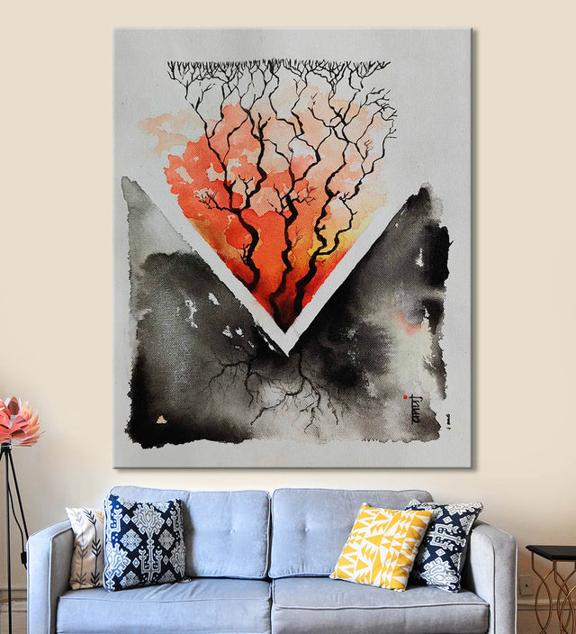 Horizons 45 Painting by Anuj Malhotra Hanging on the Wall above the Sofa