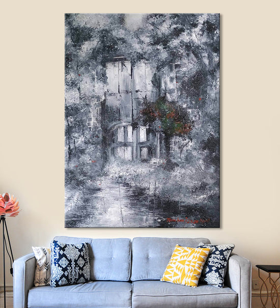 In the Shadows Painting by Kanchan Mistry Hanging on the Wall above the Sofa