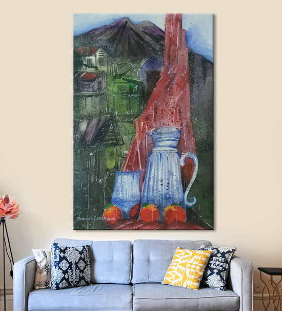 Horizons 53 Painting by Anuj Malhotra Hanging on the Wall above the Sofa