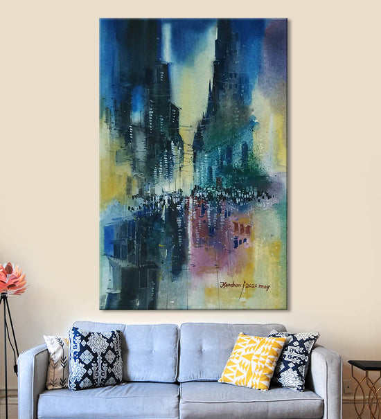 Horizons 36 Painting by Anuj Malhotra Hanging on the Wall above the Sofa