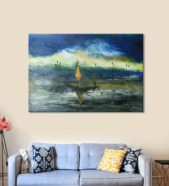 Forest Joy Painting by Kanchan Mistry Hanging on the Wall above the Sofa