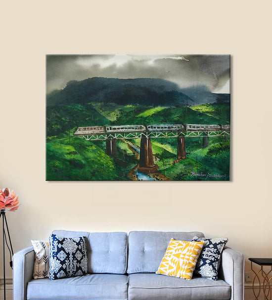 Horizons 6 Painting by Anuj Malhotra Hanging on the Wall above the Sofa