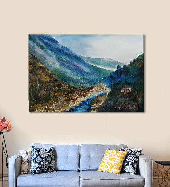 Horizons 12 Painting by Anuj Malhotra Hanging on the Wall above the Sofa