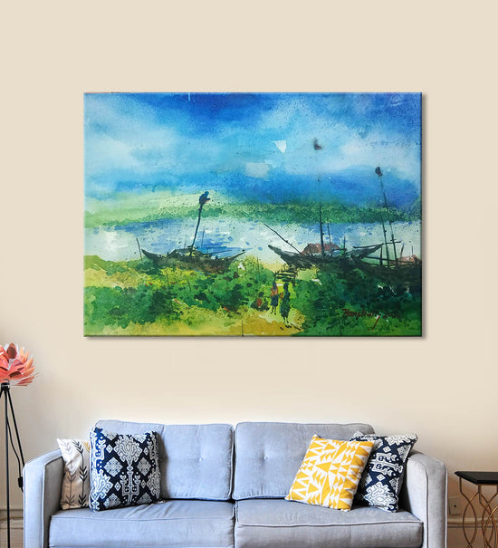 Horizons 13 Painting by Anuj Malhotra Hanging on the Wall above the Sofa