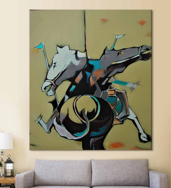 The Horse Dilemma painting by Bilal hanging on wall above a sofa