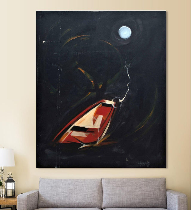 Moon and Boat in Conversation painting by Bilal hanging on wall above a sofa