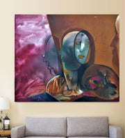 Human Abstract Painting hanging on wall above a sofa