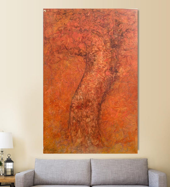 Cave Art painting by Prem Singh hanging on wall above a sofa