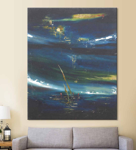 Canvas Painting hanging on wall above a sofa