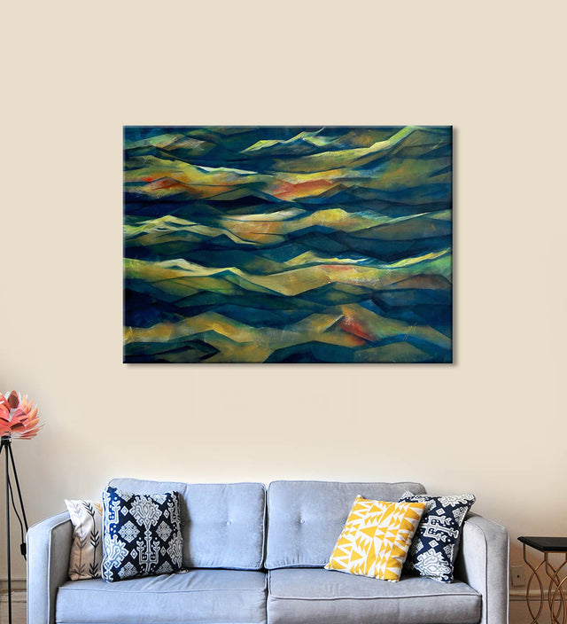 Synchronized Waves Painting by Seby Augustine Hanging on the Wall above the Sofa