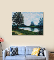 Serenity Painting by Seby Augustine Hanging on the Wall above the Sofa
