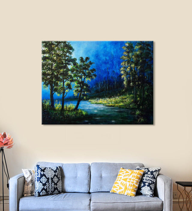 Morning Peeping Rays Painting by Seby Augustine Hanging on the Wall above the Sofa