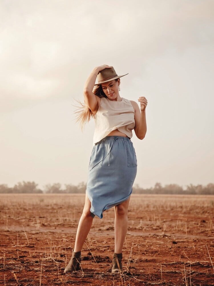 Louie Midi Skirt Chambray