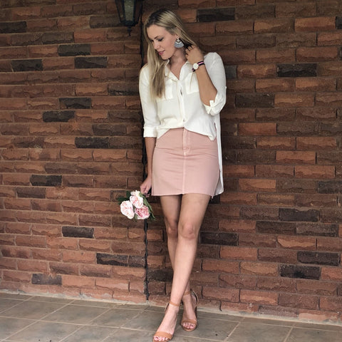 Dalahia Blush Denim Skirt