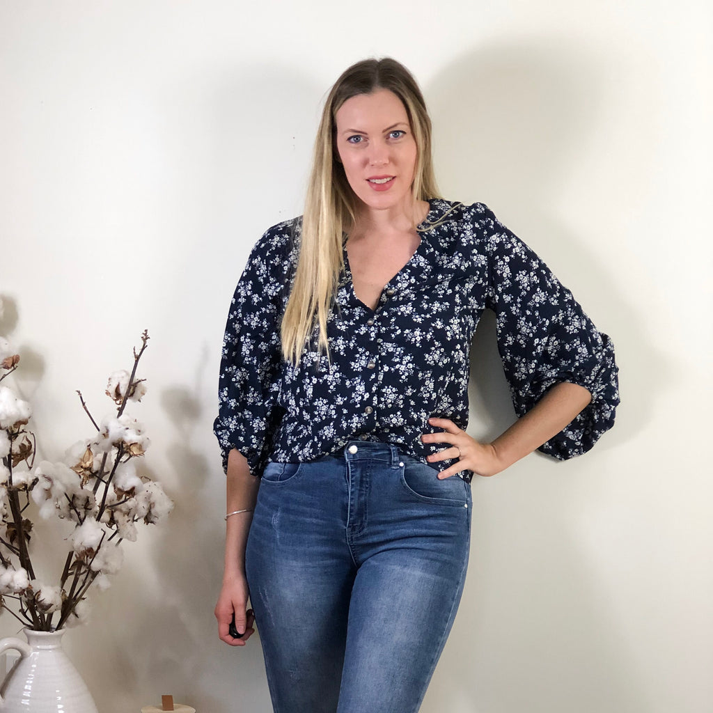 Flossy Blouse Navy