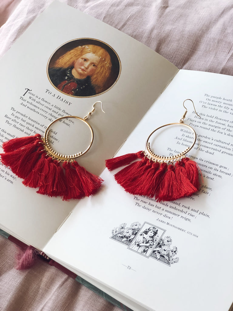 Tassel Earrings Hoop Red