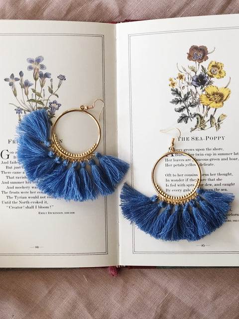 Tassel Earrings Hoop Blue