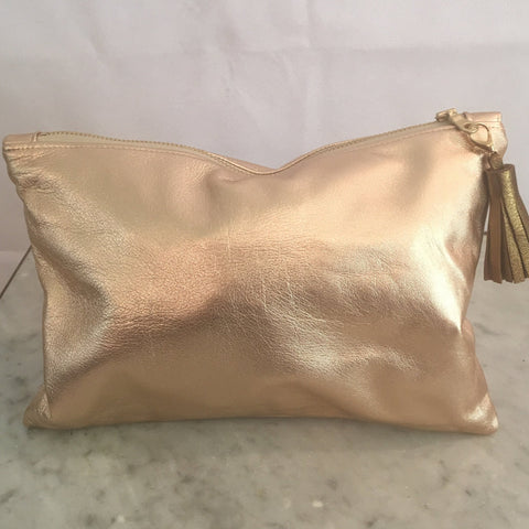 Delilah Soft Leather Clutch Rose Gold