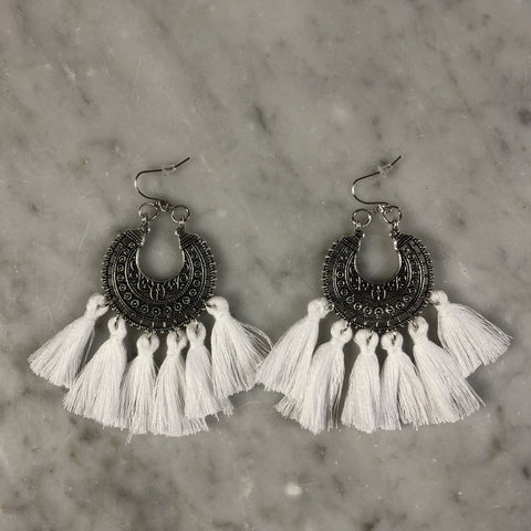 Tassel Earrings Boho White