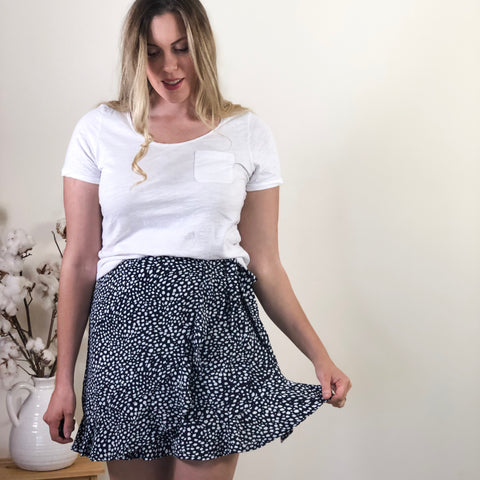 Marie Faux Wrap Skirt Navy Spot
