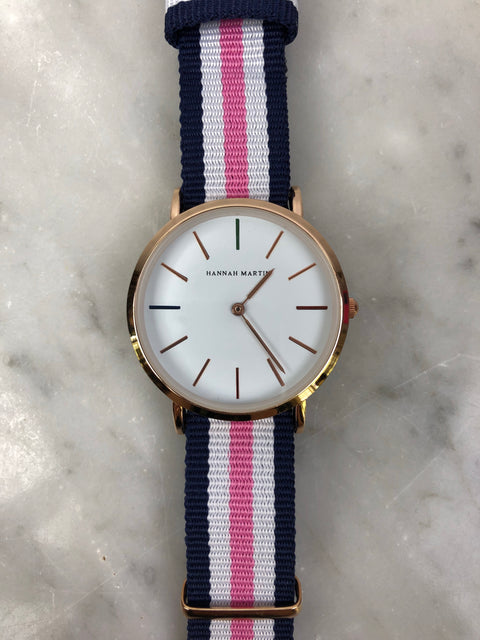 HM Rose Gold Fabric Strap Watch White