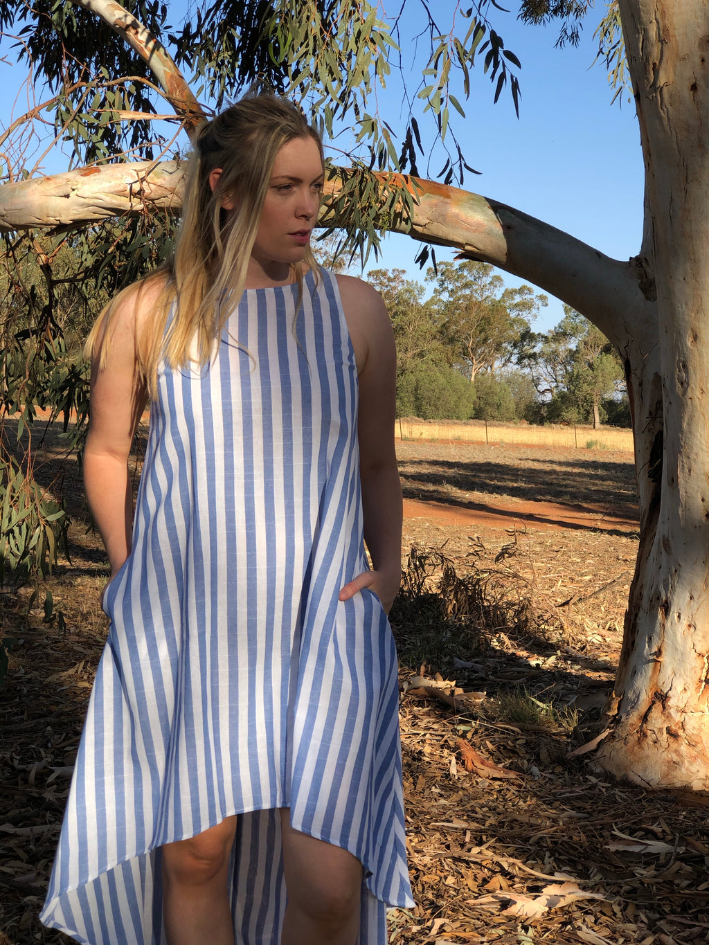 Dulcie Stripe Dress Sky
