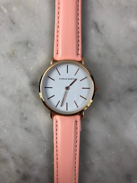 HM Rose Gold Leather Strap Watch Blush