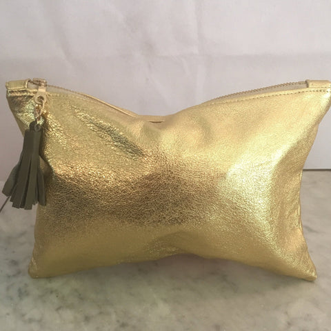 Delilah Soft Leather Clutch Gold