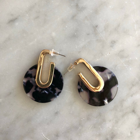 Resin Art Deco Earrings Black